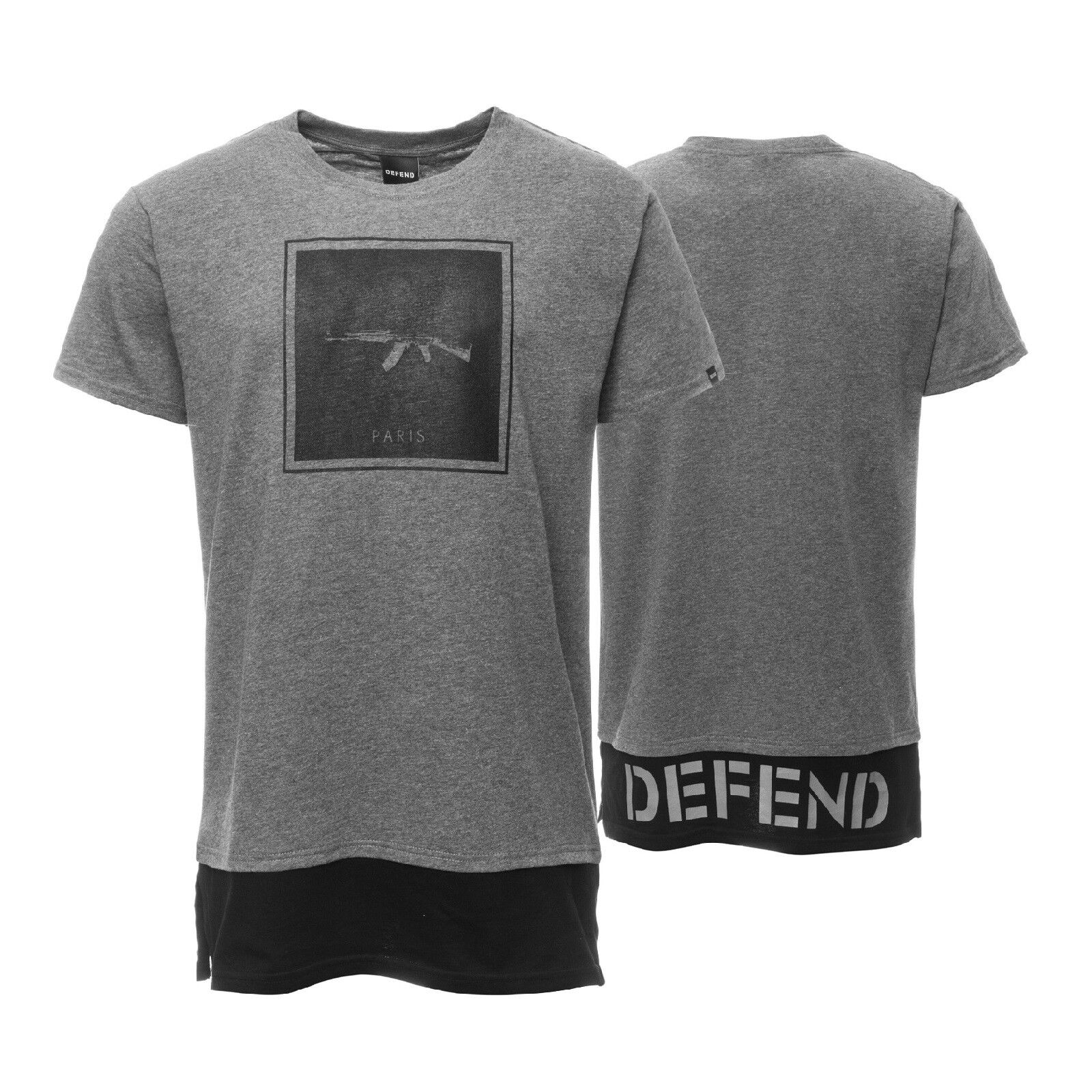 Defend Paris T-Shirt Herren Long Fit Freizeitshirt Print Layer Look Grau Schwarz