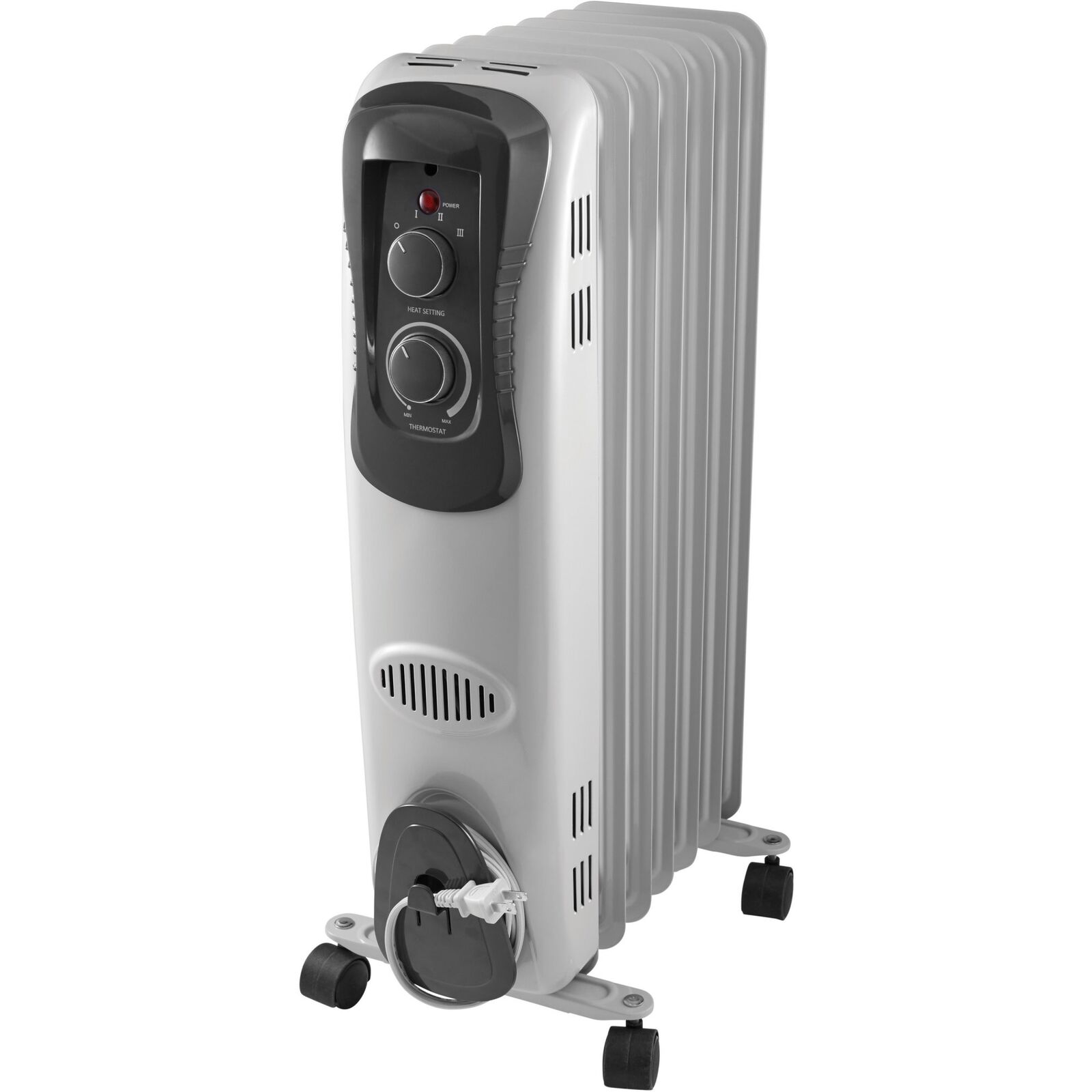 1500w Electric Oil Filled Radiant Portable Room Heater Thermostat White Radiator