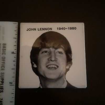 John Lennon memorial 1940-1980 square promo pin 1980's