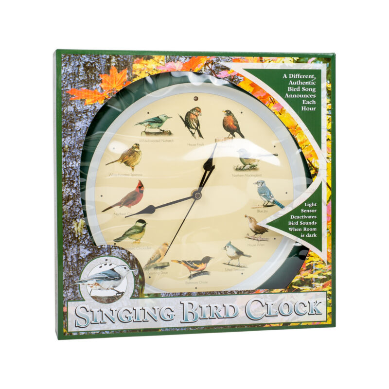 Mark Feldstein 13 Inch Green Original Singing Bird Clock