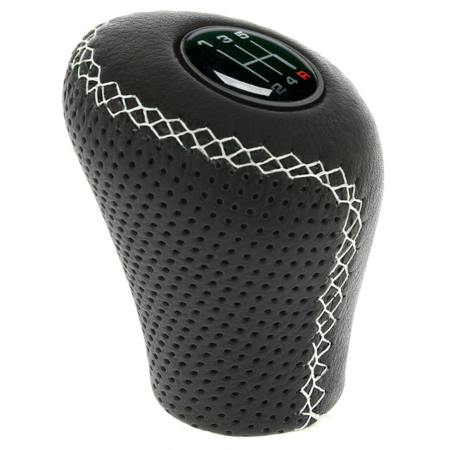 Sumex Race Sport Lift Up Reverse Leather Gear Stick Knob - Classic White Stitch