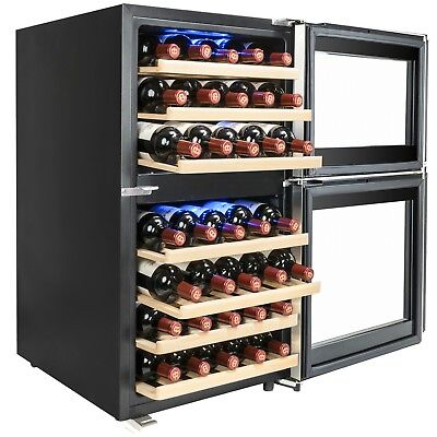 45 Bottle Dual Zone Freestanding Electric Wine Cooler Compressor Refrigerator