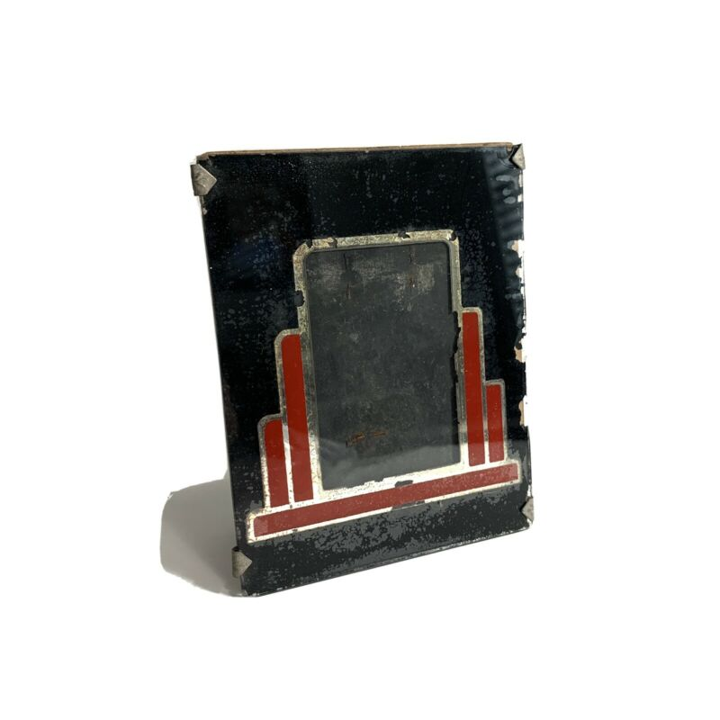 Vintage 40s or 50s Black Red Silver Art Deco Glass Table Top Picture Frame  4x5""