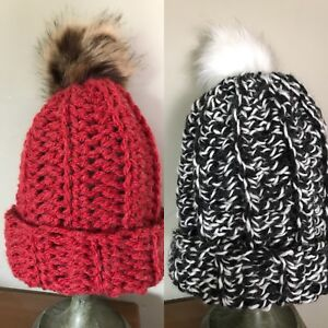 Handmade Chunky Hat with fake fur Pom Pom