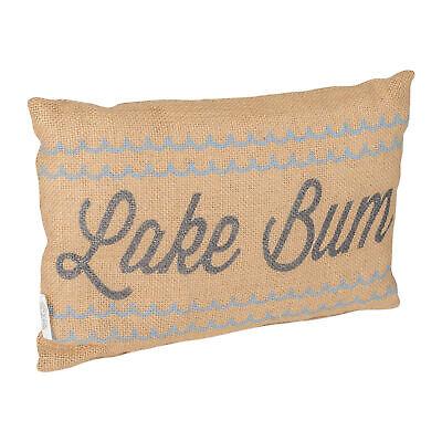 Lake Bum Black Cursive 12 x 8 Burlap Decorative Throw Pillow