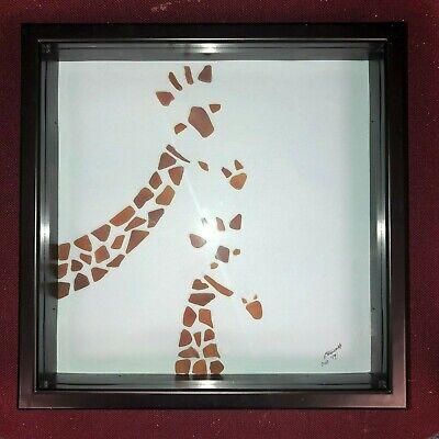 TWO GIRAFFE sea glass art 13
