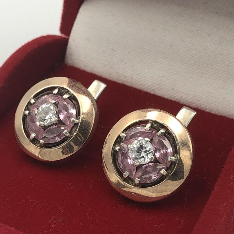 Vtg Ukrainian Earrings 875 9k Gold Cubic Zirconia