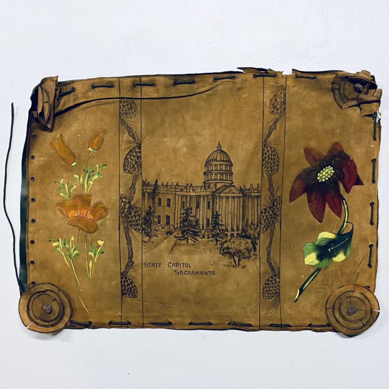Antique Hand Painted Leather SACRAMENTO CALIFORNIA STATE CAPITOL Art Piece Wall
