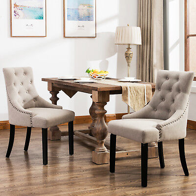 Set of 2 Curved Shape Tufted Fabric Upholstered Dining Accent Chair in Beige