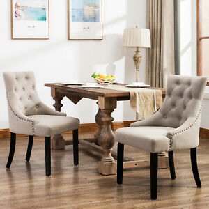Set of 2 Curved Shape Linen Fabric Upholstered Dining Accent Chair in Beige