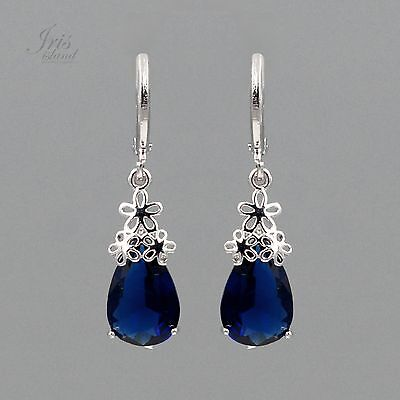 - White Gold Plated Blue Cubic Zirconia Wedding Leverback Drop Dangle Earrings 115