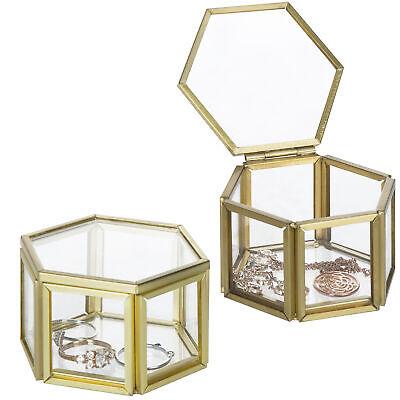 Small Hexagonal Clear Glass & Brass Metal Jewelry Display Cases, Set of 2 Glass Jewelry Display Cases