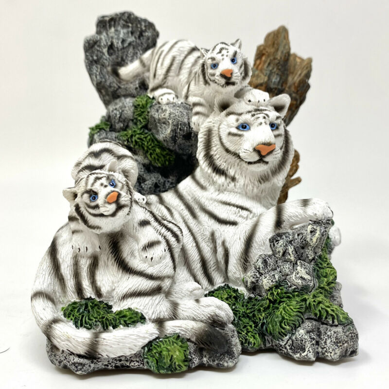 White Tiger Family Resin Figurine