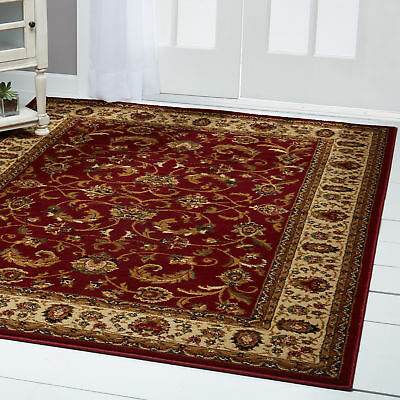 Burgundy Ivory Rug - RED BURGUNDY IVORY BORDERED TRADITIONAL AREA RUG Persien ORIENTAL FLORAL CARPET