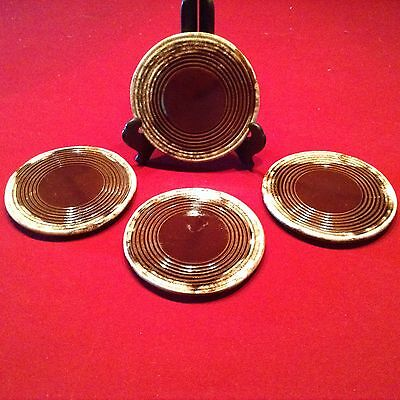 "Set of (4) 6"" McCoy Pottery 1052 Brown Drip Trivets"