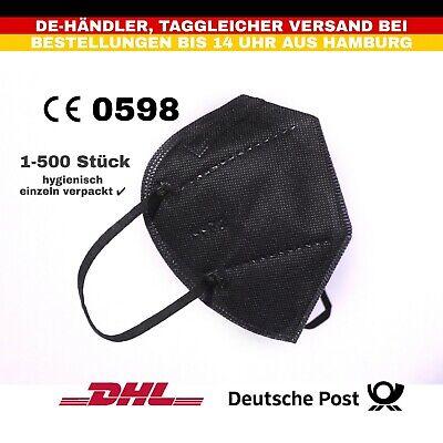 10x FFP2 Maske Mundschutzmaske Atemschutzmaske einzeln verpackt schwarz CE0598