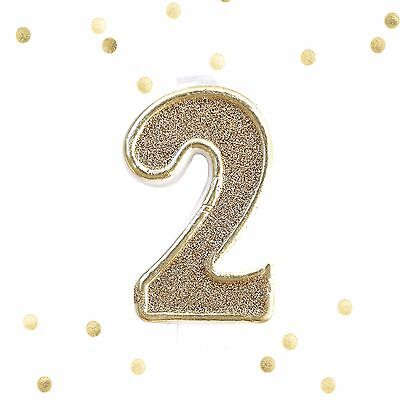 Light Gold Glitter 2nd Birthday Candle Number 2 Gold White Cake Topper Two - Number 2 Candle