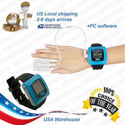 Contec Cms50f Wrist Pulse Oximeter Oled Usb Pc Software Alarm 24hour Record