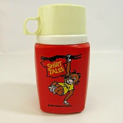 Vintage Shirt Tales 1981 Plastic Thermos Cartoon Red Monkey