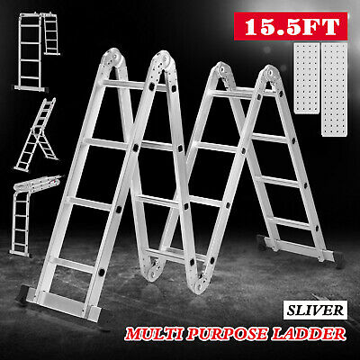 15.5ft Folding Extension Telescoping Ladder Aluminum 16 Steps W2 Work Platforms