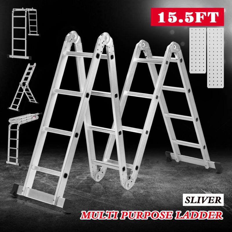15.5FT Folding Extension Telescoping Ladder Aluminum 16 Steps W/2 Work Platforms