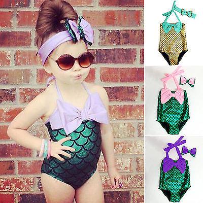 Baby Mädchen Badeanzug (Kinder Mädchen Baby Bademode Badeanzug Meerjungfrau Bikini Set mit Stirnband 116)