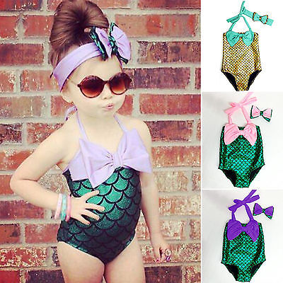 Kinder Mädchen Baby Bademode Badeanzug Meerjungfrau Bikini Set mit Stirnband 116