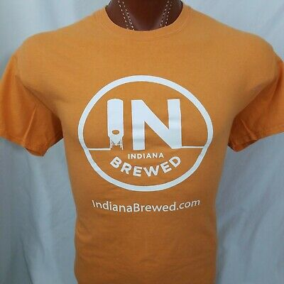Indiana Brewed Beer Staff Burnt Orange Graphic T Shirt 100% Cotton L Large for sale  Spencerport