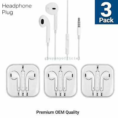 3 Pack Earbuds headphone for Apple iPhone 6 5 4 Plus Se iPad iPod Pods 3.5mm -