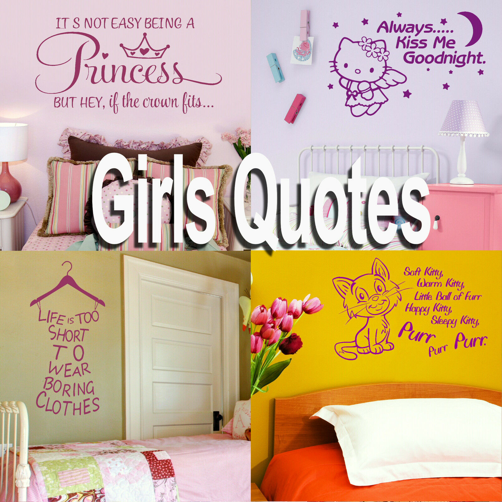 Girls Quote Wall Stickers! Home Transfer Graphic Decal Decor Stencil ...