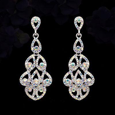 Silver Plated Aurora Clear Crystal AB Rhinestone Wedding Drop Dangle Earrings 59 ()