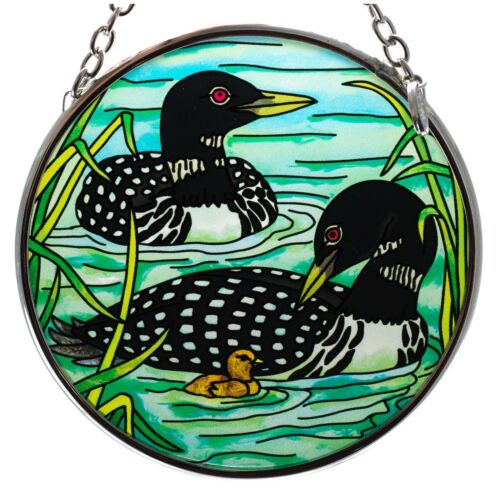 "Loons With Chick Hand Painted Glass Suncatcher By AMIA Studios 3.5"" New"