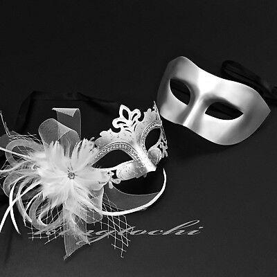 (Couples Masquerade ball Party Metallic Silver & Feather veil Wedding Prom Mask)