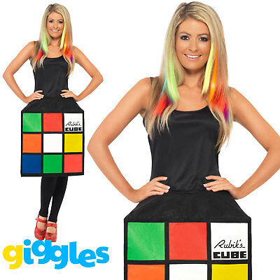 Rubiks Cube Costume Womens Ladies 80s Female Halloween Game Fancy Dress Outfit - 80's Halloween Outfits