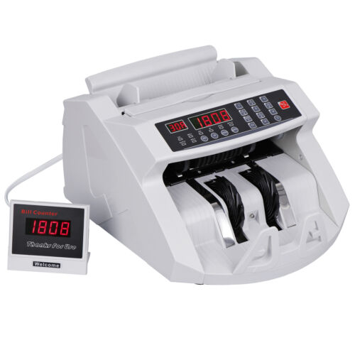 Money Counter Bill Cash Currency Counting Machine UV MG Counterfeit Detector USD Bill Counters