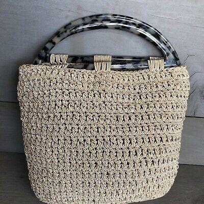 Retired Designer CARRIE FORBES Petite Crochet Bag Purse Animal Print Handles