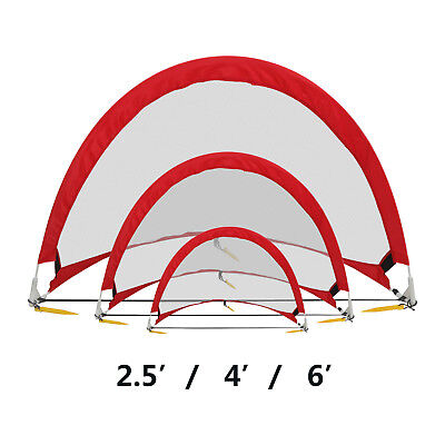 Portable Pop-Up Soccer Goals, Set of 2, With Cones and Case (2.5', 4' and 6') - Soccer Goal Set