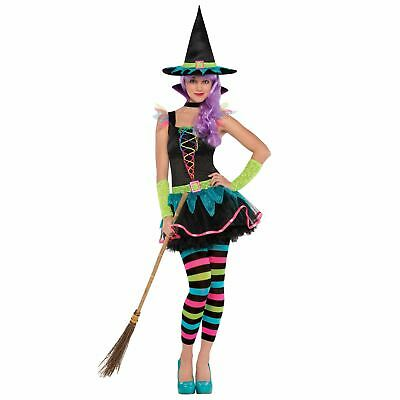 Teen Rainbow Neon Witch Fancy Dress Halloween Costume - Teen Fancy Dress Kostüme