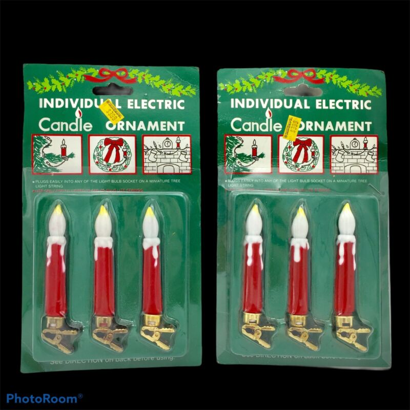 Set of 2 Vtg Light A Candle Individual Electric Ornaments Christmas Tree Clips