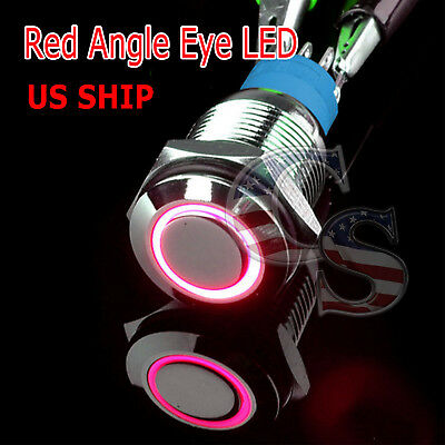 Durable 12v Led 16mm Car Momentary Push Button Red Angel Eye Metal Switch