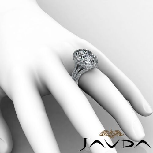 3 Row Shank Bezel Oval Cut Diamond Engagement Double Prong Ring GIA I VS2 3.65Ct 5
