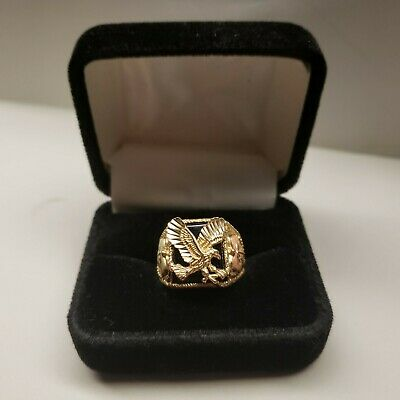 MENS VTG 10 KT SOLID BLACK HILLS GOLD BLACK ONYX EAGLE RING WITH BOX SIZE 101/2 Onyx Eagle Ring