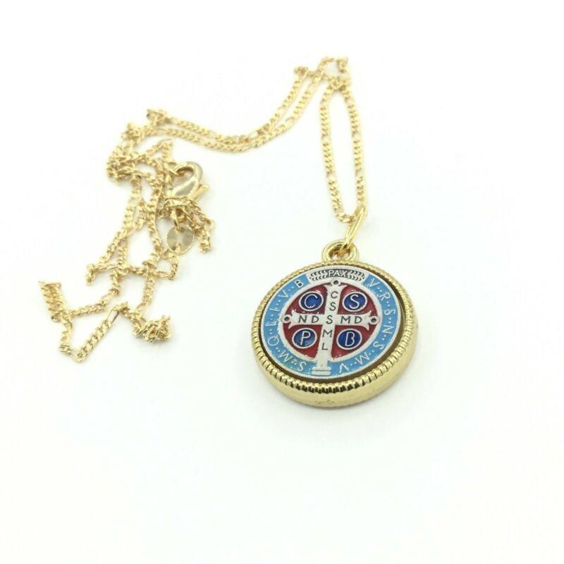 Saint st Benedict Medal pendant Catholic Exorcism Necklace San Benito