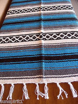 Falsa Serape ONW-Aqua New West Southwest Southwestern Mexican Blanket Afghan