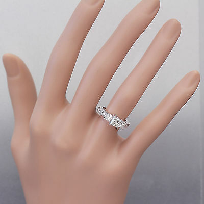 GIA I-SI1 14k White Gold Princess Cut Diamond Engagement Ring Antique 1.60ctw 2