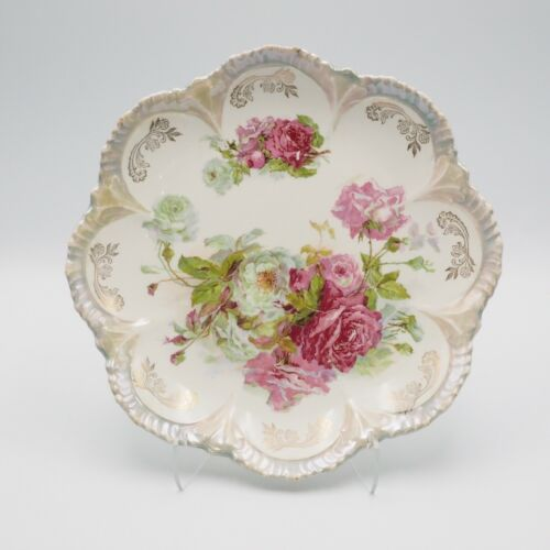 Antique Vintage  Hand Painted Rose Serving Plate  10.50 Inch