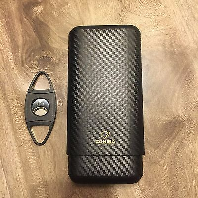 Cohiba Carbon Fiber Leather 3 Ct Wooden Cigar Case Travel Humidor + Free  Cutter (Carbon Fiber Cigar Case)