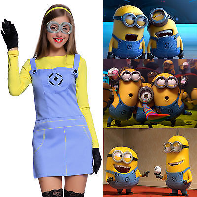Ladies Adult Despicable Me Minion Party Fancy Dress Costume Outfit w/Goggles
