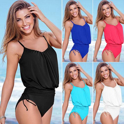 Damen Sporty Einteiler Monokini Bikini Bademode Badeanzug Schwimmanzug Beachwear