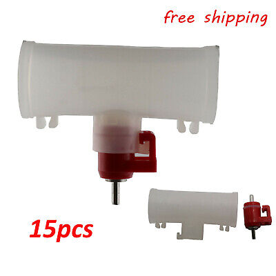 15x Poultry Water Drinking Cups Nipple Automatic Water Drinking Three-way Valve